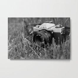 Minolta film camera black and white Metal Print