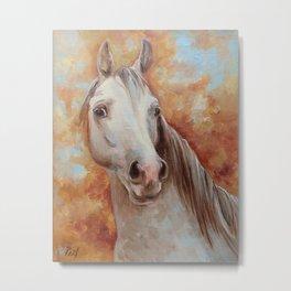 Grey Horse Portrait Autumn Scenic Painting Metal Print