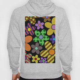 Funky Flowery Pattern - Abstract, Retro Design Hoody
