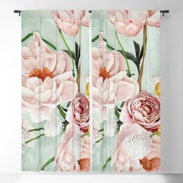 Blue Oval Peonies & Poppies Blackout Curtain