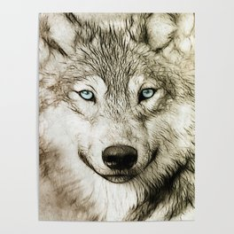 Smokey Sketched Wolf Poster
