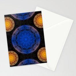Mandala blue and orange Stationery Cards