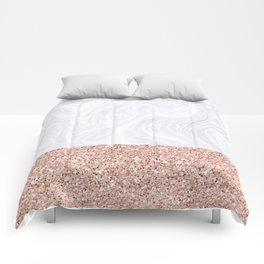 White Marble Dipped in Rose Gold Glitter Comforters