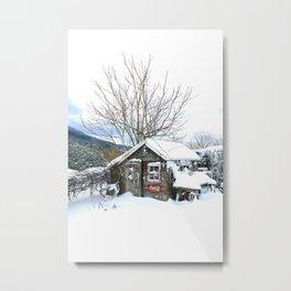 Rustic Shed Snowday Metal Print