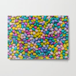 Mixed Candy Eggs Photo Pattern Metal Print