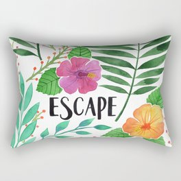 Escape - Tropical Watercolor Floral Rectangular Pillow