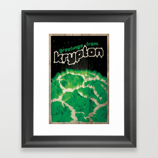 Greetings from Krypton   Defunct Planets Series No. 2 Framed Art Print