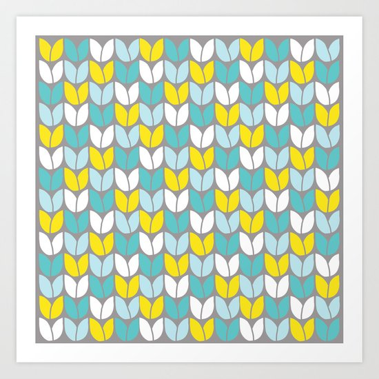 Tulip Knit (Aqua Gray Yellow) Art Print