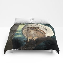 Great Horned Owl Bird Moon Tree A138 Comforters