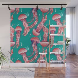 Red jellyfish pattern Wall Mural