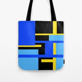 Rectangles - Blues, Yellow and Black Tote Bag