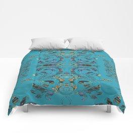 Deep Turquoise Boujee Boho Medallion Comforters