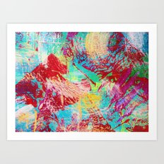 REEF STORM - Fun Bright BOLD Playful Rainbow Colors Underwater Ocean Reef Theme Coral Aquatic Life Art Print