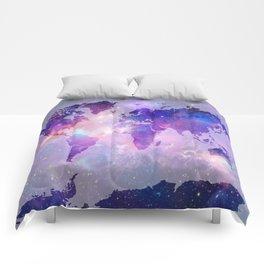 world map galaxy Comforters