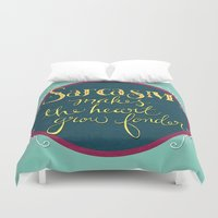 sarcasm Duvet Covers featuring Sarcasm Makes the Heart Grow Fonder by Skye Zambrana
