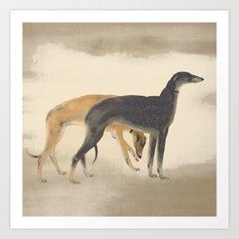 Two Greyhounds Art Print