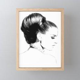 Woman Portrait Fashion Minimal Drawing Framed Mini Art Print