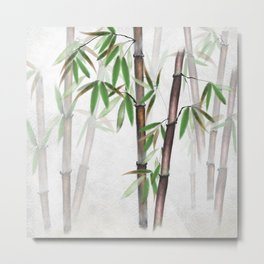 Bamboo Forest on patterned cloth Metal Print