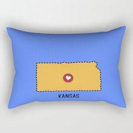 Kansas State Heart Rectangular Pillow