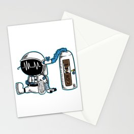 Coffee fueled astronaut Stationery Cards