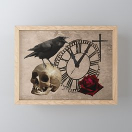 Gothic Black Crow Old Skull Red Rose Time Cross Art A553 Framed Mini Art Print