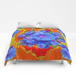 BLUE MORNING GLORIES YELLOW-ORANGE  PATTERN Comforters