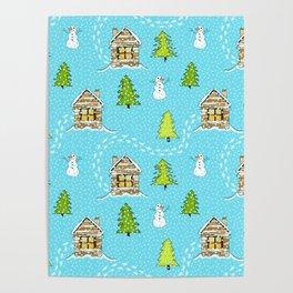 Alpine Ski lodge on Turquoise Poster