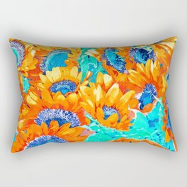 Sunflower Garden #nature #painting Rectangular Pillow