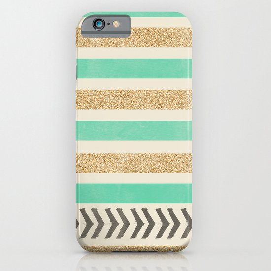 MINT AND GOLD STRIPES AND ARROWS iPhone & iPod Case