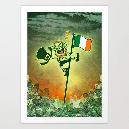 Leprechaun Singing on an Irish Flag Pole Art Print