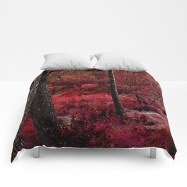 Red forest landscape electric alien Comforters