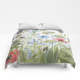 Floral Watercolor Botanical Cottage Garden Flowers Bees Nature Art Comforters
