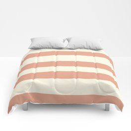 Earthen Trail Pink 4-26 Hand Drawn Fat Horizontal Lines on Dover White 33-6 Comforters