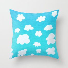 Happy Little Clouds Throw Pillow