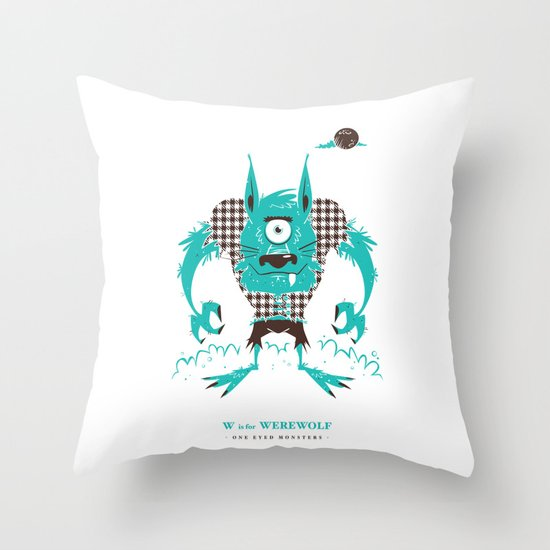 W is for Werewolf Throw Pillow