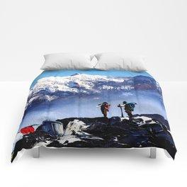 Panoramic View Of Ama Dablam Peak Everest Mountain Comforters