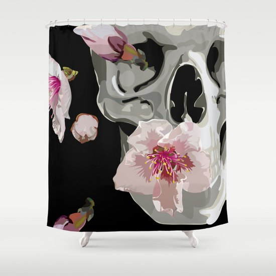 """Spring"" Skull and flowers Shower Curtain"