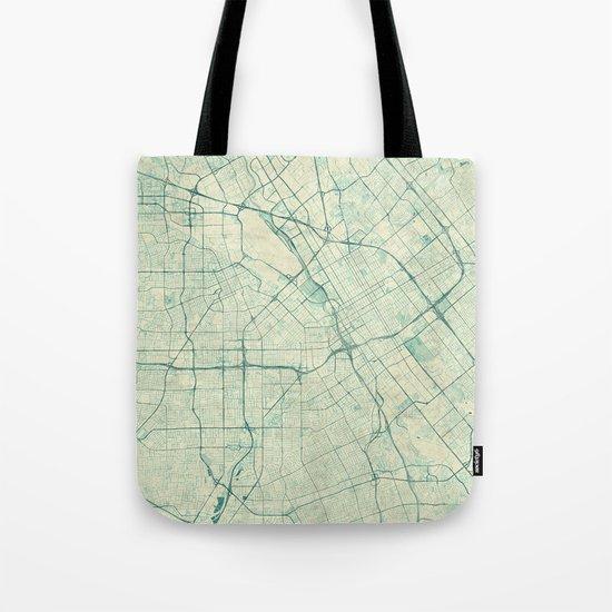 San Jose Map Blue Vintage Tote Bag