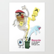 Recycled Paper Monsters Art Print