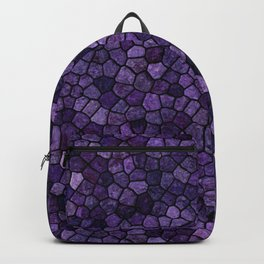 Inkwell Blue Cobbled Patchwork Terrazo Pattern Backpack