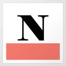 Monogram Letter N-Pantone-Peach Echo Art Print