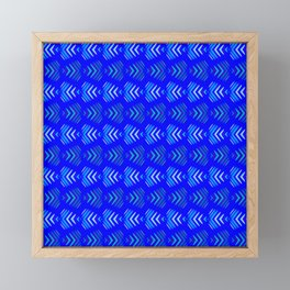 Pattern of intersecting hearts and stripes on a blue background. Framed Mini Art Print