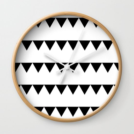TRIANGLE BANNERS (Black) Wall Clock