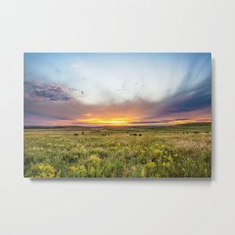 Tallgrass Prairie - Sunset and Bison on the Plains Metal Print