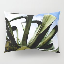 Large Giant Green Aloe Plant with Bright Blue Sky Pillow Sham