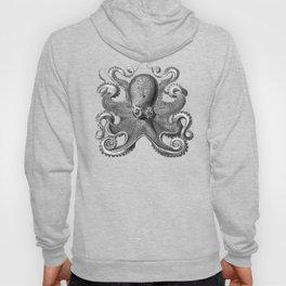 Octopus1 (Black & White, Square) Hoody