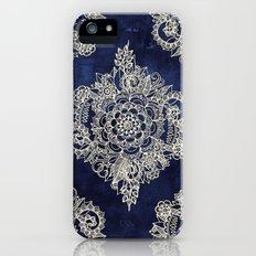 Cream Floral Moroccan Pattern on Deep Indigo Ink iPhone (5, 5s) Slim Case