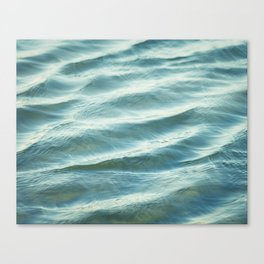Water Abstract Photography, Ocean Ripples, Blue Teal Sea Canvas Print