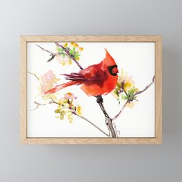 Cardinal Bird in Spring Framed Mini Art Print