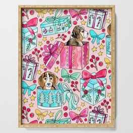 Beagles, Boxes & Bows on Bubblegum Pink   Serving Tray